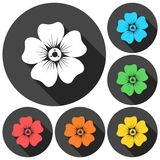 Silhouette of flower icons set with long shadow Royalty Free Stock Photos