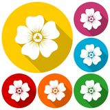 Silhouette of flower icons set with long shadow Stock Photo