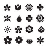 Silhouette Flower icons Royalty Free Stock Photography