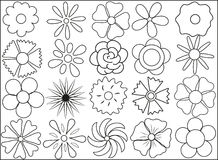 Silhouette of flowers on March 8. Black and white flowers on March 8 Royalty Free Illustration