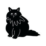 Silhouette of a fluffy cat. Black silhouette of a fluffy cat on a white background, vector illustration Royalty Free Stock Photography