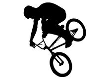 Silhouette of a flying biker Stock Images