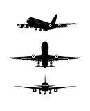Silhouette of the flying-up plane Royalty Free Stock Photography
