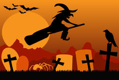 Silhouette of flying witch on broom, with spider, raven and bats at night. Orange Royalty Free Stock Photos