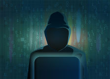 Silhouette foncée de pirate informatique sur le fond abstrait Concept de vecteur Photographie stock libre de droits