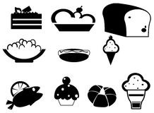 Silhouette food and dessert icon set Royalty Free Stock Image