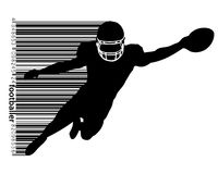 Silhouette of a football player and barcode. Rugby. American footballer. Silhouette of a football player. Background and text on a separate layer, color can be Stock Photos