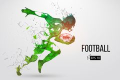 Silhouette of a football player. Vector illustration. Silhouette of a football player. Dots, lines, triangles, text, color effects and background on a separate Royalty Free Stock Photo