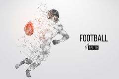 Silhouette of a football player. Vector illustration. Silhouette of a football player. Dots, lines, triangles, text, color effects and background on a separate Royalty Free Stock Images