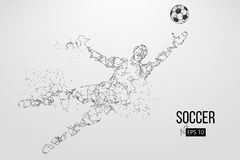 Silhouette of a football player from particles. Vector illustration. Silhouette of a football player. Dots, lines, triangles, text, color effects and background Royalty Free Stock Photography