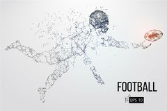 Silhouette of a football player. Vector illustration. Silhouette of a football player. Dots, lines, triangles, text, color effects and background on a separate Stock Image