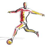 Silhouette football player Stock Image