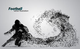Silhouette of a football player from particle. Rugby. American footballer. Silhouette of a football player from particle. Background and text on a separate layer Royalty Free Stock Photo