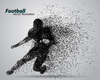 Silhouette of a football player from particle. Rugby. American footballer Royalty Free Stock Image
