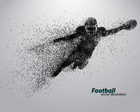 Silhouette of a football player from particle. Rugby. American footballer Royalty Free Stock Photography