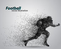 Silhouette of a football player from particle. Rugby. American footballer. Silhouette of a football player from particle. Background and text on a separate layer Stock Image