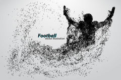 Silhouette of a football player from particle. Rugby. American footballer. Silhouette of a football player from particle. Background and text on a separate layer Stock Photos