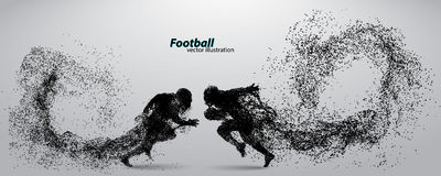 Silhouette of a football player from particle. Rugby. American footballer. Silhouette of a football player from particle. Background and text on a separate layer Royalty Free Stock Images