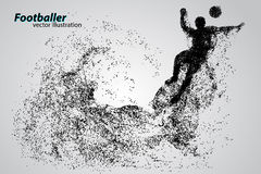 Silhouette of a football player from particles Royalty Free Stock Photo