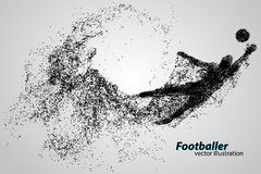 Silhouette of a football player from particles. Text and background on a separate layer, color can be changed in one click Stock Photos