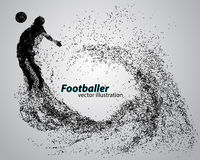 Silhouette of a football player from particles. Text and background on a separate layer, color can be changed in one click Royalty Free Stock Photography