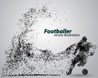 Silhouette of a football player from particles Stock Photography