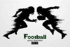 Silhouette of a football player. Rugby. American footballer. Vector illustration. Silhouette of a football player. Background and text on a separate layer, color Stock Photos