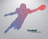 Silhouette of a football player from triangle. Rugby. American footballer Royalty Free Stock Images