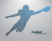 Silhouette of a football player from triangle. Rugby. American footballer Royalty Free Stock Photo