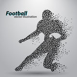 Silhouette of a football player from triangle. Rugby. American footballer Stock Photo