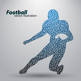 Silhouette of a football player from triangle. Rugby. American footballer Stock Photos