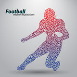 Silhouette of a football player from triangle. Rugby. American footballer Stock Image