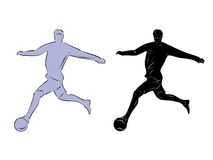 Silhouette football player Stock Images