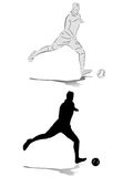 Silhouette football player Stock Photo