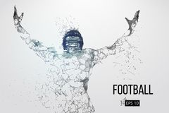 Silhouette of a football player. Vector illustration. Silhouette of a football player. Dots, lines, triangles, text, color effects and background on a separate Stock Photos