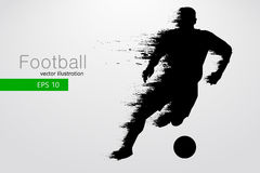 Silhouette of a football player. Vector illustration. Silhouette of a football player. Text and background on a separate layer, color can be changed in one click Royalty Free Stock Images