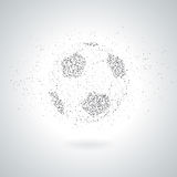 Silhouette Of Football / Soccer Ball From Polygon Particle. Grayscale Background. Stock Photography