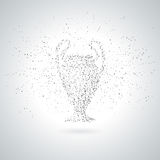 Silhouette Of Football / Soccer Cup From Polygon Particle. Grayscale Background. Royalty Free Stock Photography