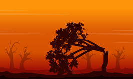Silhouette of forest on fire landscape. Vector illustration Stock Image