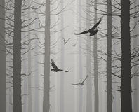 Silhouette of the forest with flying birds. Black and white vector illustration
