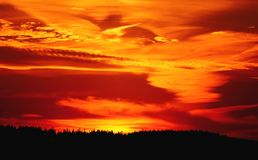 The silhouette of the forest with an impressive sunset sky in deep orange and red colors in the Harz mountains, Germany. stock photo