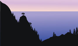 Silhouette of forest on the mountain Royalty Free Stock Image
