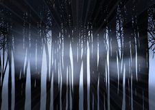 Silhouette of a forest at night. With moonlight shining through Stock Illustration