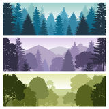 Silhouette forest panorama skyline with pine trees, vector nature wildlife landscape backgrounds. Wildlife forest silhouette, skyline panorama forest Stock Photos