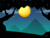 Silhouette forest scene on fullmoon night Royalty Free Stock Photos