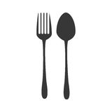 Silhouette fork and spoon utensils kitchen Stock Photo