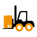 Silhouette forklift truck with boxes Royalty Free Stock Images