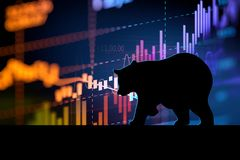 Silhouette form of bear on technical financial graph. Silhouette form of bear on financial stock market graph represent stock market crash or down trend Royalty Free Stock Photo