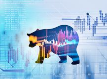 Silhouette form of bear on technical financial graph. Silhouette form of bear on financial stock market graph represent stock market crash or down trend Stock Photos