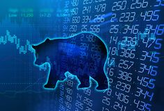 Silhouette form of bear on technical financial graph. Silhouette form of bear on financial stock market graph represent stock market crash or down trend Royalty Free Stock Image